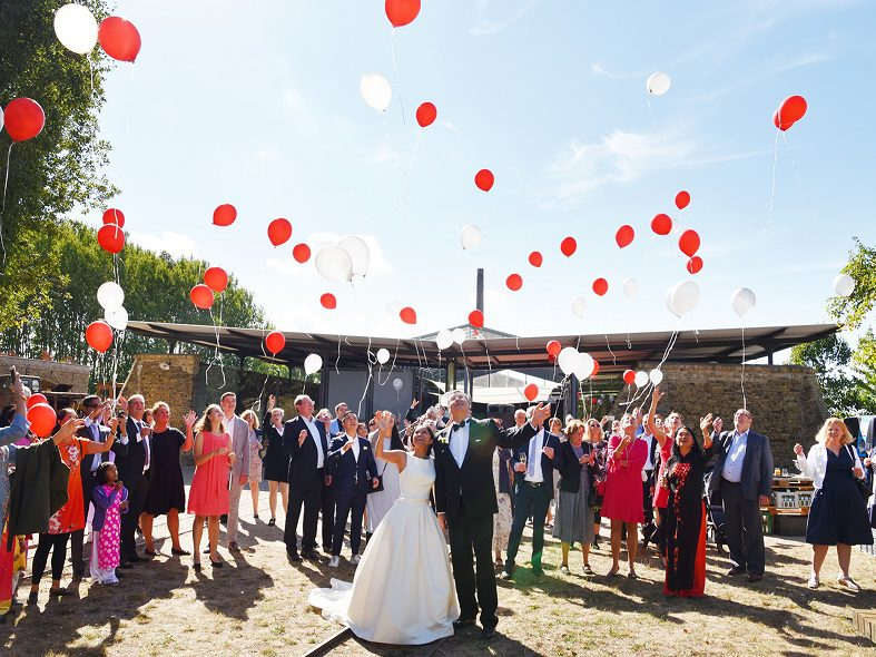 Wedding between tracks and trains